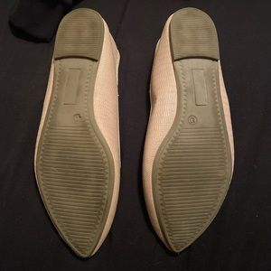 SO Shoes - Nude snake skin pointed toe flats memory foam